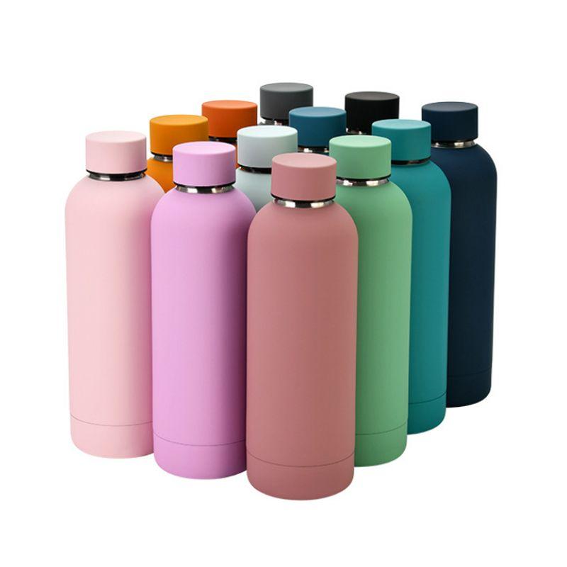 304 Edelstahl-Vakuum-Flasche Outdoor-Sportwasser-Flaschen Frosted Portable Waterbottle Rainbow Color Tumblers WLL884