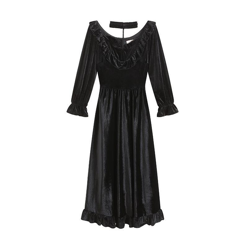 Vestido otoño Vintage Velvet Black Fiesta Out Elegante Cintura Alta Vestido Hembra Bing