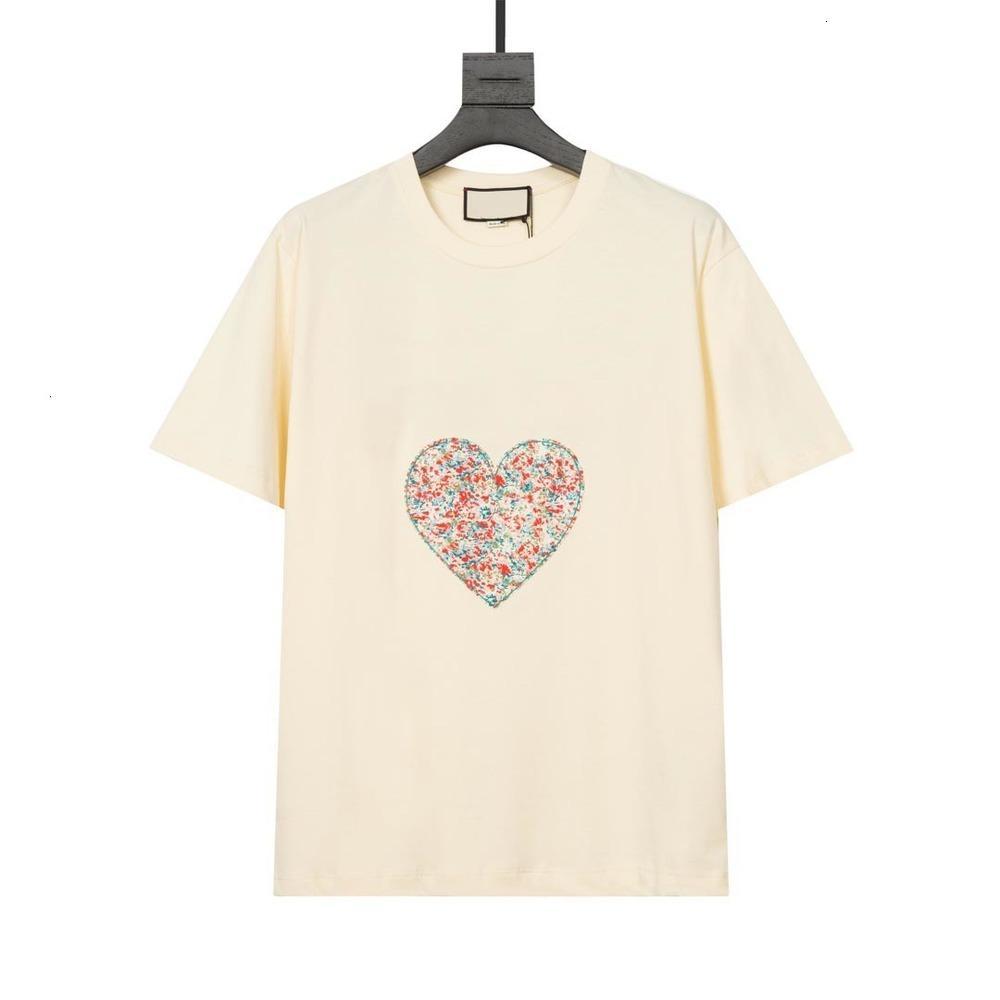 21SS Designer Uomo Donna T-shirt con alta qualità Amore e fiore Stampa Cuore Comfort Tee Black Beige Green Tutte le etichette Oversized XS S M L