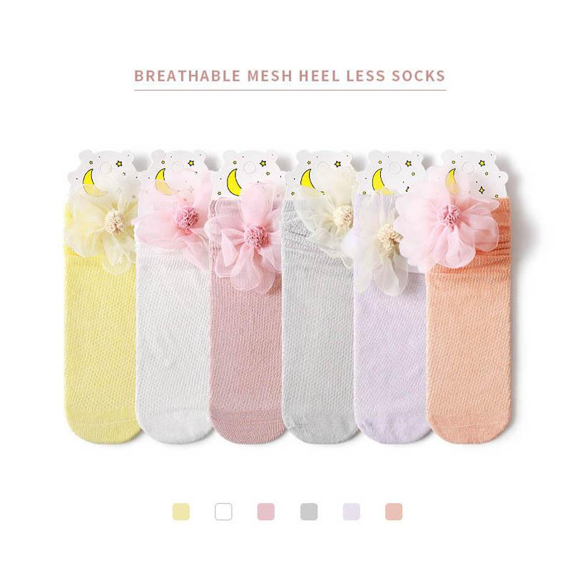 Girls Socks Summer Cotton Lace Flower Princess Knit Knee High Sock Long Kids Accessories Baby Clothes 1-8Y B5295