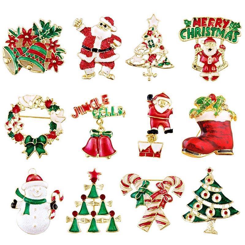 Pins, Broşlar Merry Christmas Broş Pin Noel Baba Koltukları Çanlar Kardan Adam Ayakkabı Rozetleri Kadın Erkek Çocuklar Için Rhinestone Ağacı