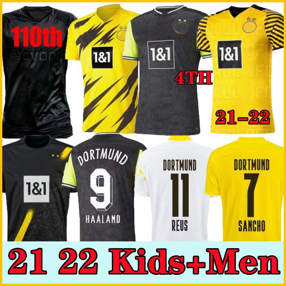 Jogador Versão 1990 Edição Limitada Haaland Reus Borussia 20 21 4th Dortmund Soccer Jersey 2021 2022 Bellingham Sancho Hummels Brandt Homens Soccer Jerseys + Kit Kit