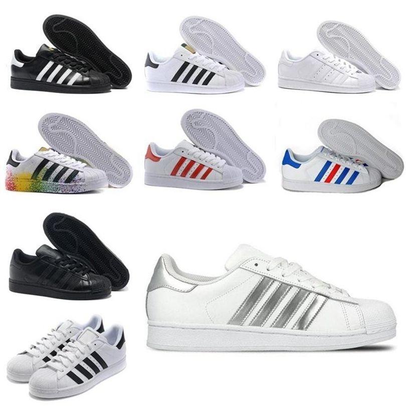 Adidas ORIGINALES BOOTS SUPERSTRATERES Blanco Rojo Oro Estrellas Pride Sneakers Supers Star Lady Men Sport Casual Shoes 36-44 K2115 DHX-H151