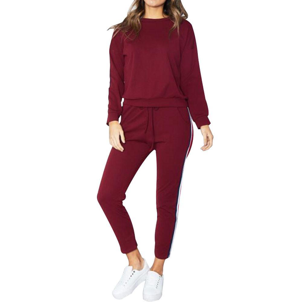 Mulheres 2 PCS Tracksuits Set Mulheres Terno Esportivo 2019 Inverno Senhoras Listrado Active Sport Sport Loungewear Fato Treino de Molheres # G4