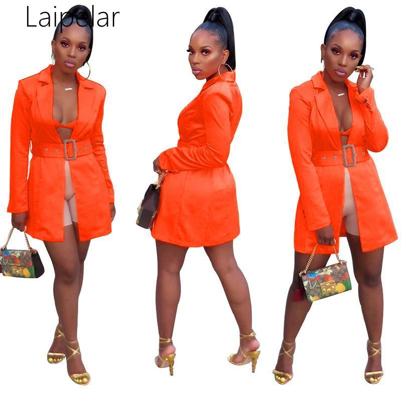 Casual Female Blazer Orange Turn Down Collar With Belt Long Sleeve Jackets Women Coat Office Lady Autumn Clothes Women's Suits & Blazers