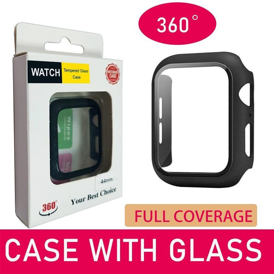 360 Full Cover Tempered Glass Screen Protector Cases Compatible with iWatch Series 6/5 /4 /SE /3/2/1 Bumper 38mm 42mm 40mm 44mm Matte Hard Watches Case Retail box