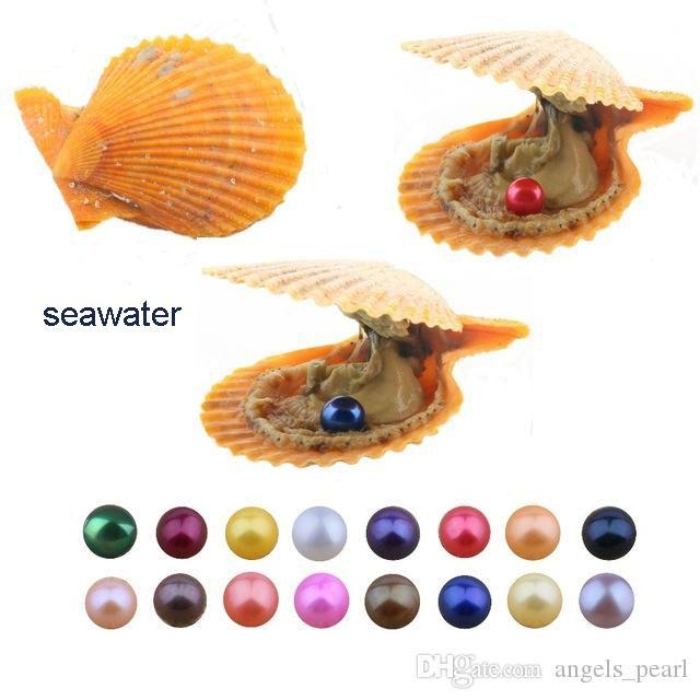 Оптом akoya pearl oyster 2020 новый раунд 6-7 мм цвета морская вода красная раковина натуральная культивированная в свежем устричном жемчужевом мидии
