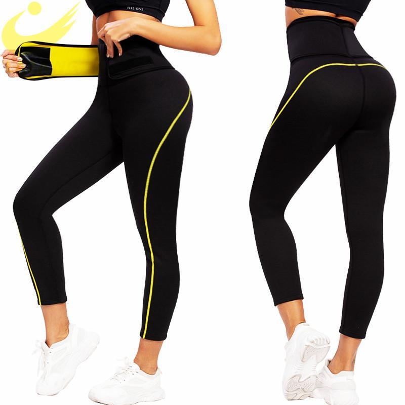 Lazawg kadın neopren sauna zayıflama pantolon spor salonu egzersiz sıcak termo ter sauna capris tozluk şekillendirme bel eğitmen pantolon 210326