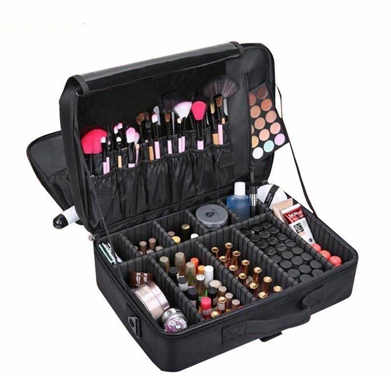 Qualitativ hochwertige professionelle make-up case weibliche schönheit nagel box kosmetiktasche reisen große kapazität aufbewahrungstasche koffer für make-up 210322