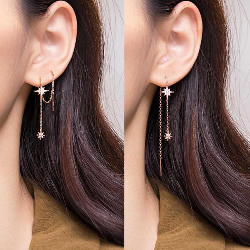 100% echte 925 Sterling Silber Stern-Fädel-Ohrringe Zarte langes Sterne Quaste Ziehen für Frauen E0019 A0527