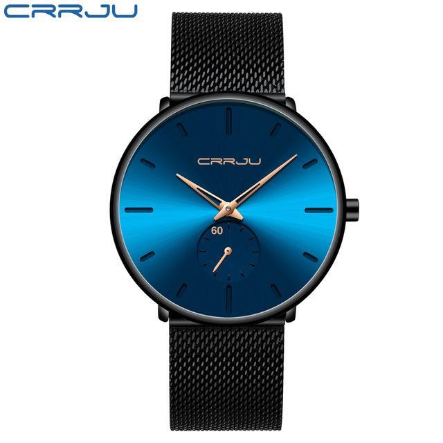 2021 лучший бренд мода мужские кварцевые часы Crrju роскошные часы мужчины повседневная стройная сетка сталь водонепроницаемый спортивный наручные часы Relogio Masculino Montre de luxe