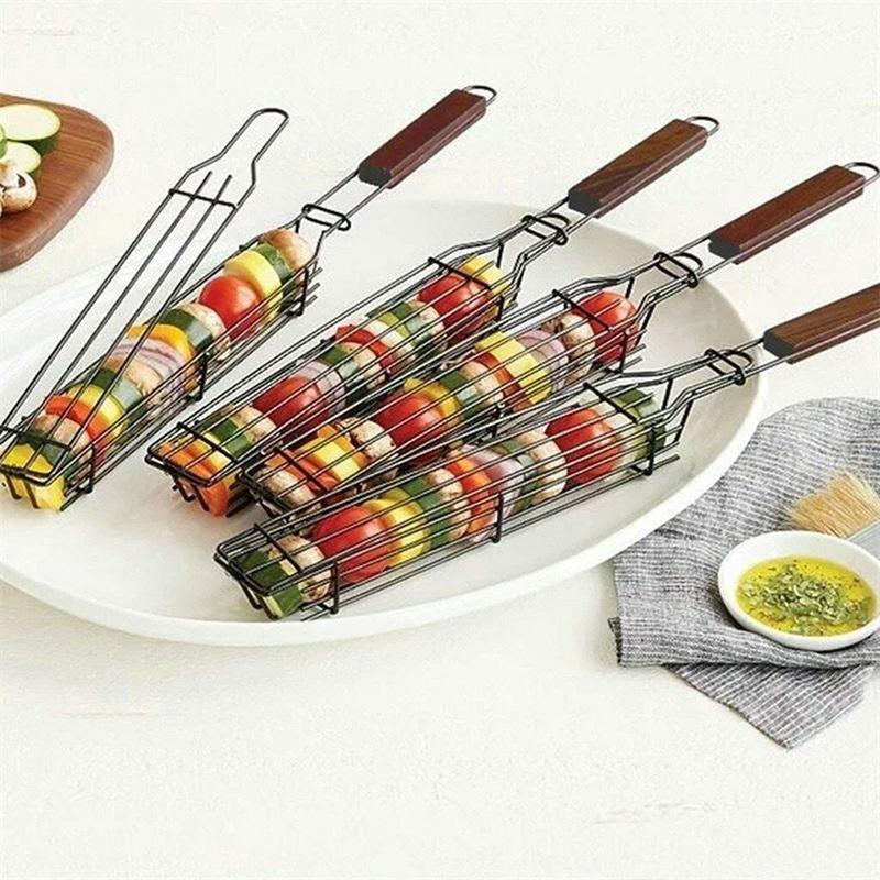 أدوات مصغرة BBQ المحمولة في الهواء الطلق الطبخ سلال الشواء شواء صافي يده سلة معدنية كليب رف GWB7898