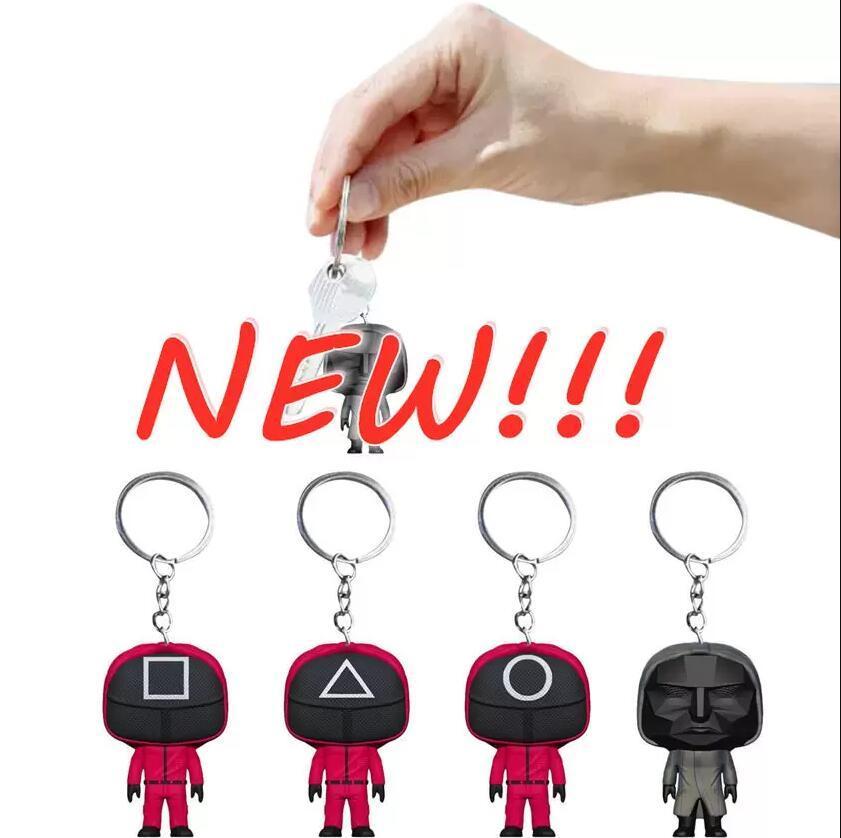 SQUIRE JEU Porte-clés Soldiers Triangle Square Series ronds ronds toujours en Corée du Sud Mini Mini Poupée Figurine Key Bague Sac à dos Pendentif FY3245