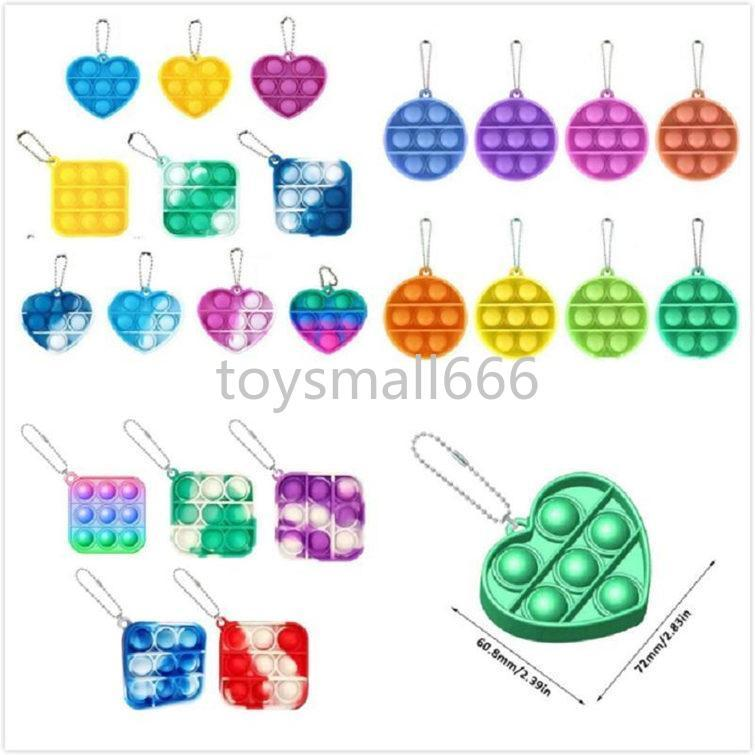 Mini Push Bubble Sensory Toy Keychains Autism Needs Squishy Stress Reliever Toys Adult Child Funny Anti-stress Keyring PendantsL