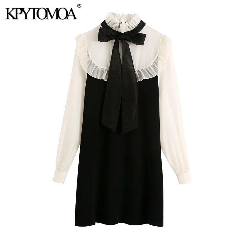 KPytomoa mulheres moda com blackwork orgânico amarrado malha mini vestido vintage colarinho de manga comprida vestidos femininos mujer 210322