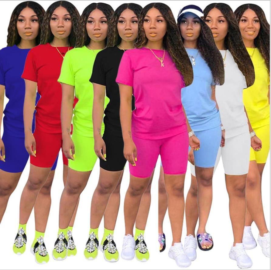 여름 여성 Tracksuit 두 조각 세트 디자이너 2021 캐주얼 짧은 소매 복장 솔리드 컬러 숙 녀 패션 느슨한 티 셔츠 조깅 정장 무료 DHL