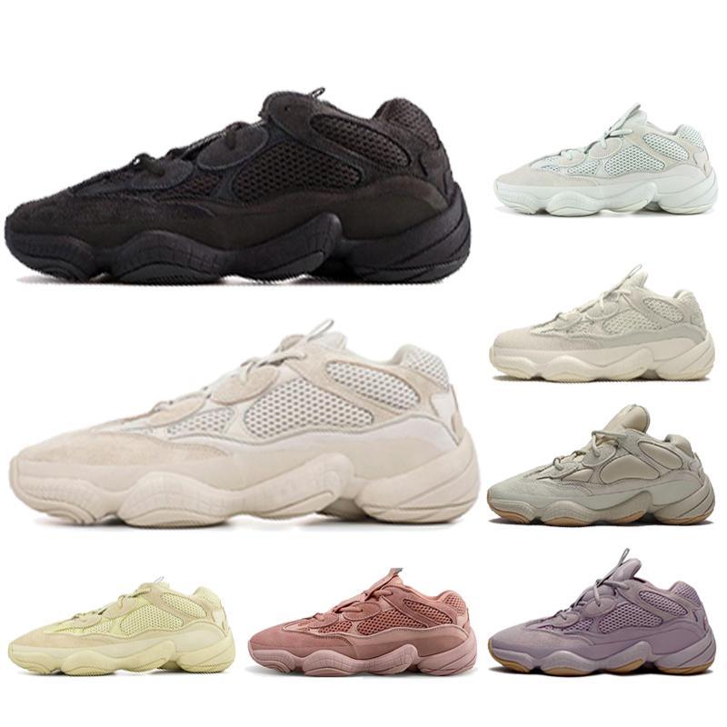 2020 New Desert Rat 500 Visão Macia Pedra Bone Branco Utilidade Preto Salt Kanye West Correndo Tênis Homens Mulheres Sneakers US 5-11.5