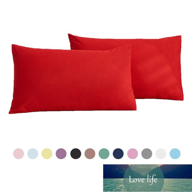 100% Pamuk Otel Yastık Kalıcı Renkli Yastık Kapak 48 * 74 cm Yastık Kılıfı Ev Yatak Yatak Standart Boyutu Sınıf A