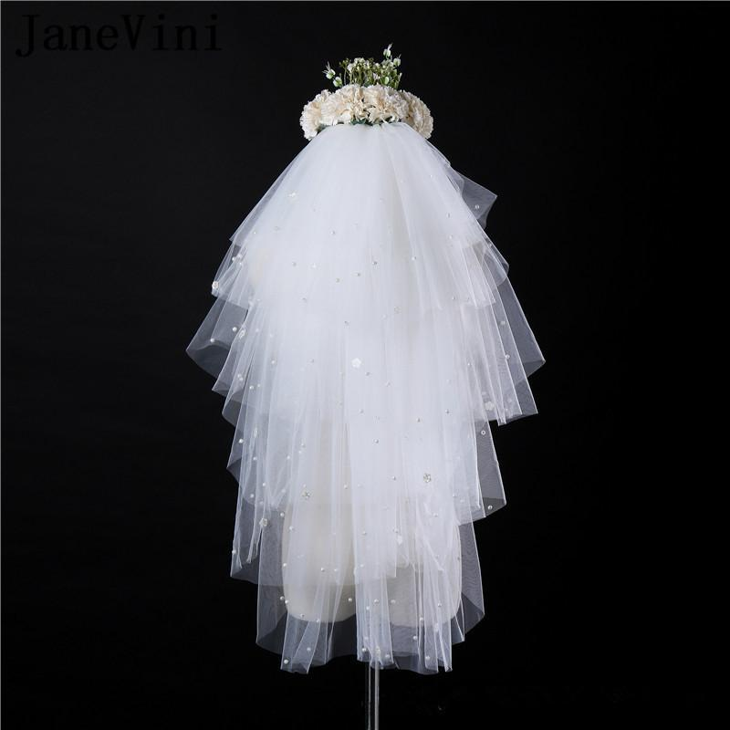 Bridal Veils JaneVini 2021 Elegant Ivory Short Tulle With Comb Multi Layers Pearls Elbow Length Veil Puffy Wedding Accessories