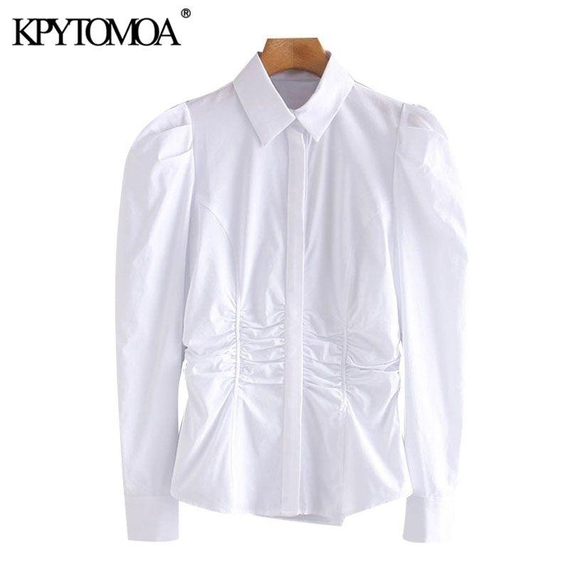 KPytomoa mulheres moda com coleta elástica embutir blusas vintage slow slow button-up fêmea camisas blusas chique tops 210320