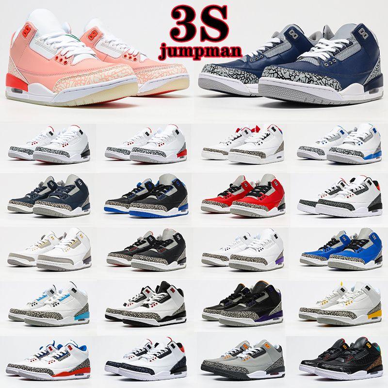 Air Jordan 3 3s Retro shoes Jumpman 3S Basketball Chaussures 3 Midnight Navy Racer Bleu Fragment Court Violet Cool Cool Gris Unc Tinker Mens Sports Sports Sneakers