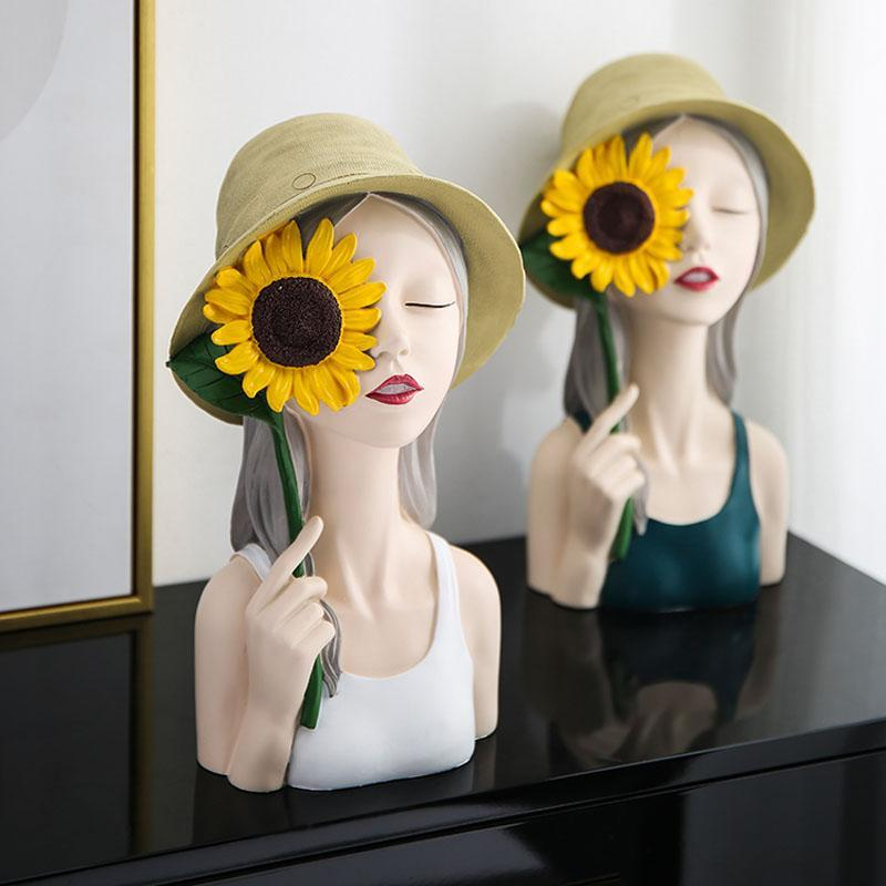 Nordic Resin Sunflower Girl Statues Ornaments Home Decoration Accessories Dining Table Sculpture Furnishings Crafts Wedding Gift Decorative