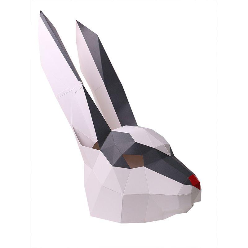 الألغاز diy 3d الثلوج أرنب رئيس الحيوان الجمعية ورقة العملية عدة اللعب تركيب دون مقص الجدار شنقا المنزل الديكور