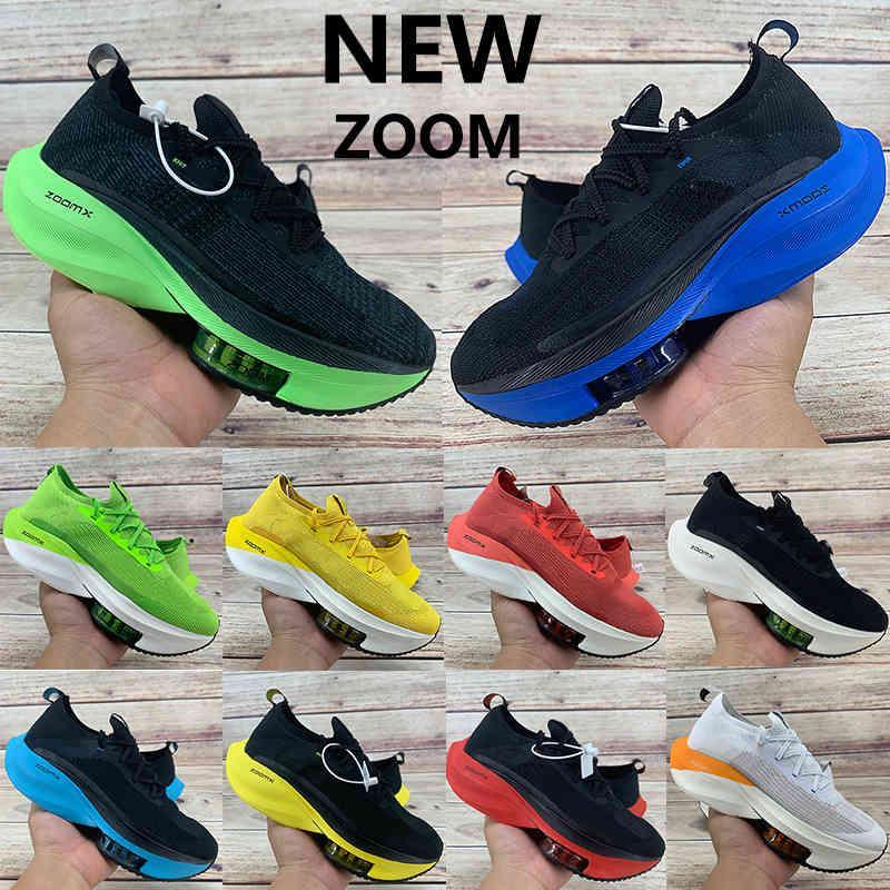 2020 Novo Zoom Alfa Watermelon Fly Next% Running Shoes Mens Preto Eléctrico Verde Bred Branco Laranja Tour Amarelo Volt Knit Womens Sneakers