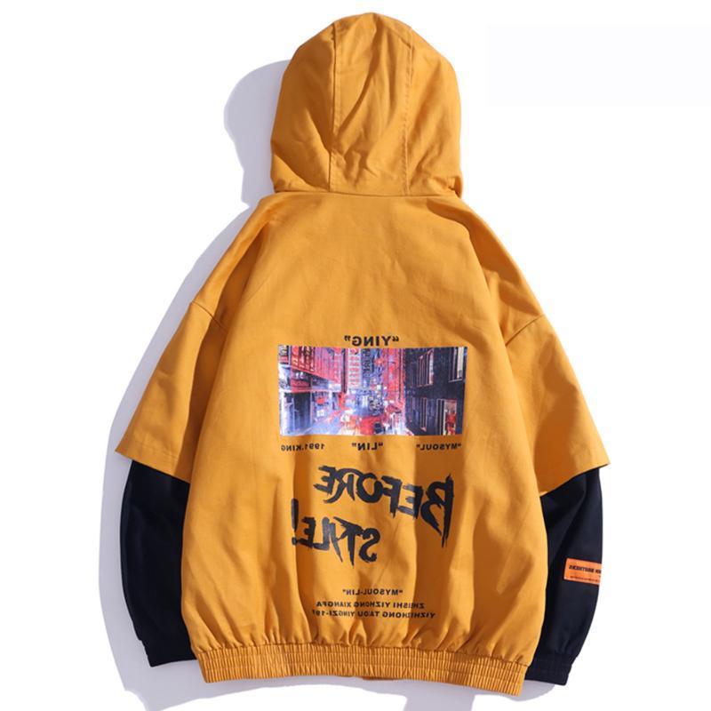 Jaquetas masculinas patchwork engraçado homens imprimidos casuais jaqueta com capuz 2021 harajuku streetwear casacos hip hop masculino moda enorme tops
