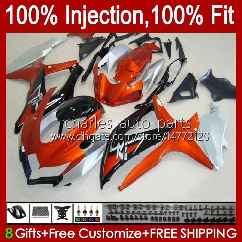 Injectievorm voor Suzuki GSXR 600 750 CC 600CC 750CC GSXR600 K8 GSX-R750 9HC.104 GSXR-600 GSXR-750 08 09 10 GSXR750 GSX-R600 2009 2009 2010 OEM Fairing Kit Orange Silvery