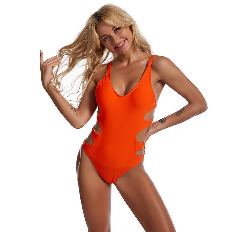 Costumi da bagno arancione Donne 2021 Costume da bagno Costume da bagno Costume da bagno per signore Sexy Sexy Color Color Hollow One-Piece Sports Abiti in due pezzi