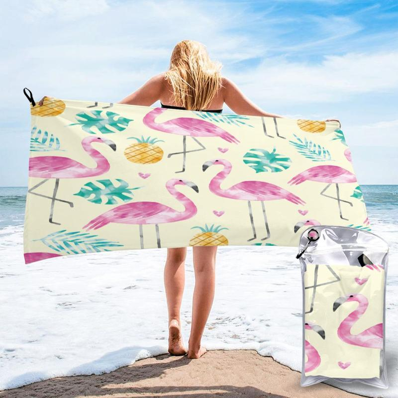 Towel Ultralight Compact Quick Drying Flamingo And Pineapple Leaves Microfiber Camping Hiking Hand Face Outdoor Travel Kit