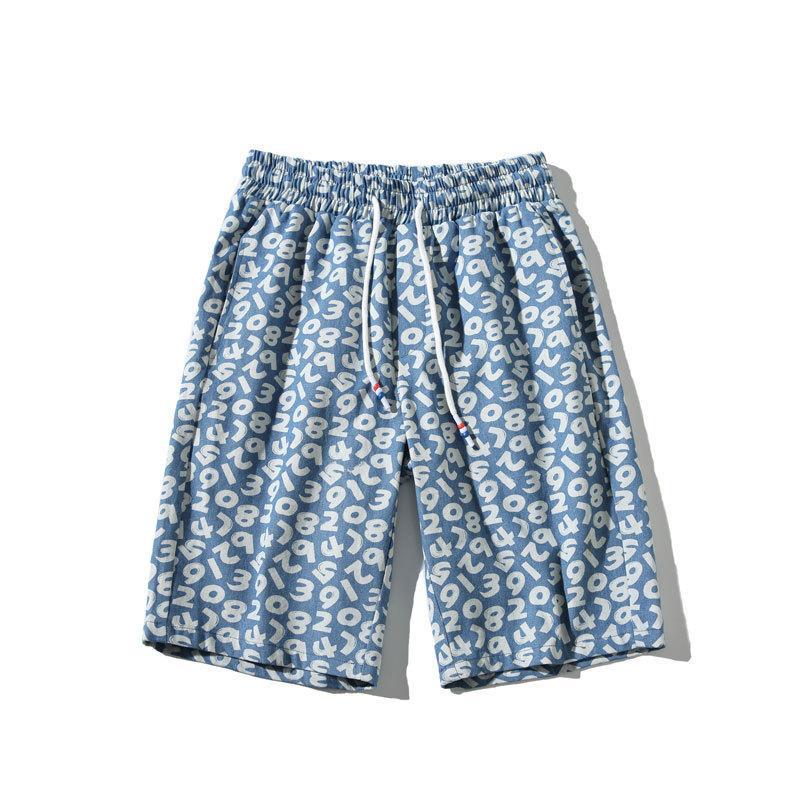 Estilo suelto Hombres de verano Pantalones cortos de impresión casual Lavado de agua Vaquero Hombre de gran tamaño Pantalones de cinco puntos K917