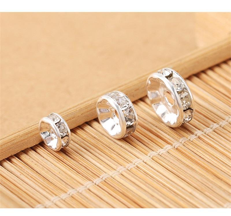 200pcs / lot clair blanc 6mm 8mm 10mm Rondelle argentée argentée en cristal ronde perles rondes entretoises perles perles de perles enracinement cristal 1157 T2