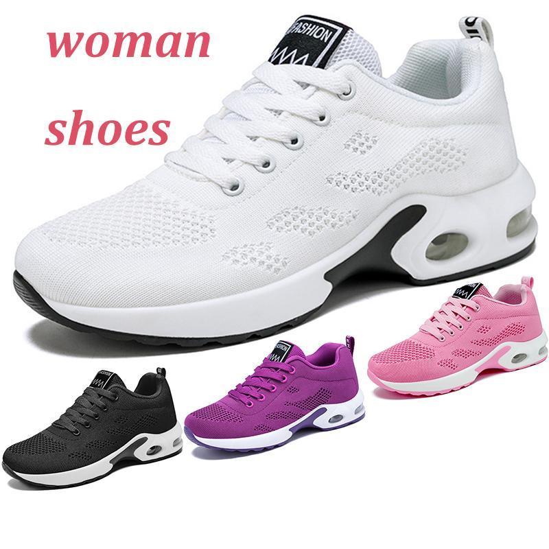 2021 التجارة الخارجية المرأة تنفس أحذية الركض لينة وردي الأحمر الأرجواني أسود أبيض الكورية الترفيه وسادة الهواء نوع 8