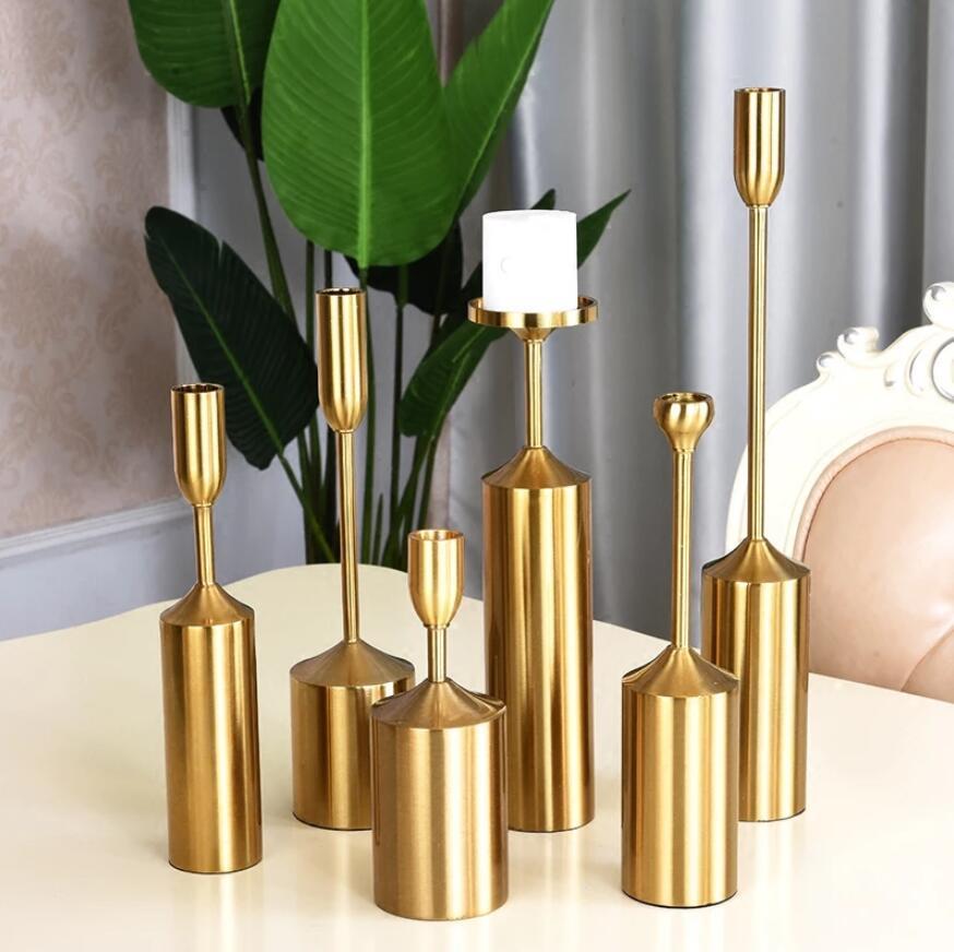 LUJO LUJO DE LUJO NORDIC HOGAR Decoración de la vela de metal Decoraciones de mesa Decoraciones de aleación Electroplada Candlestica de oro para la fiesta de bodas 6pcs / set