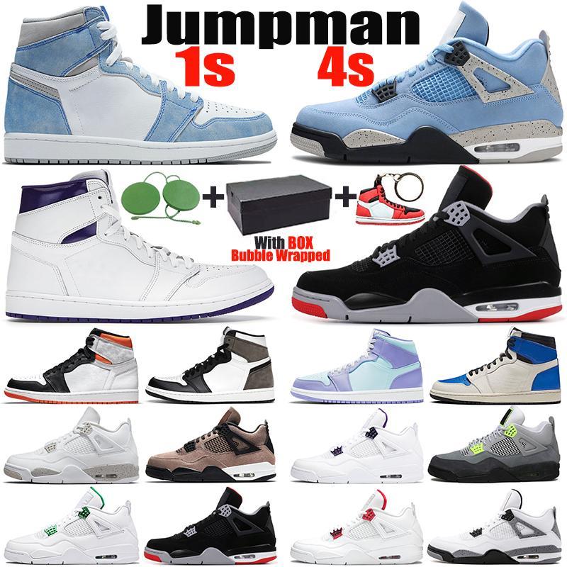 أحذية كرة السلة للرجال 1 جامعة زرقاء retro 1 4 basketball shoes 4 Jumpman 1s Hyper Royal 4s Black Cat الرجال النساء أحذية رياضية في الهواء الطلق المدربين