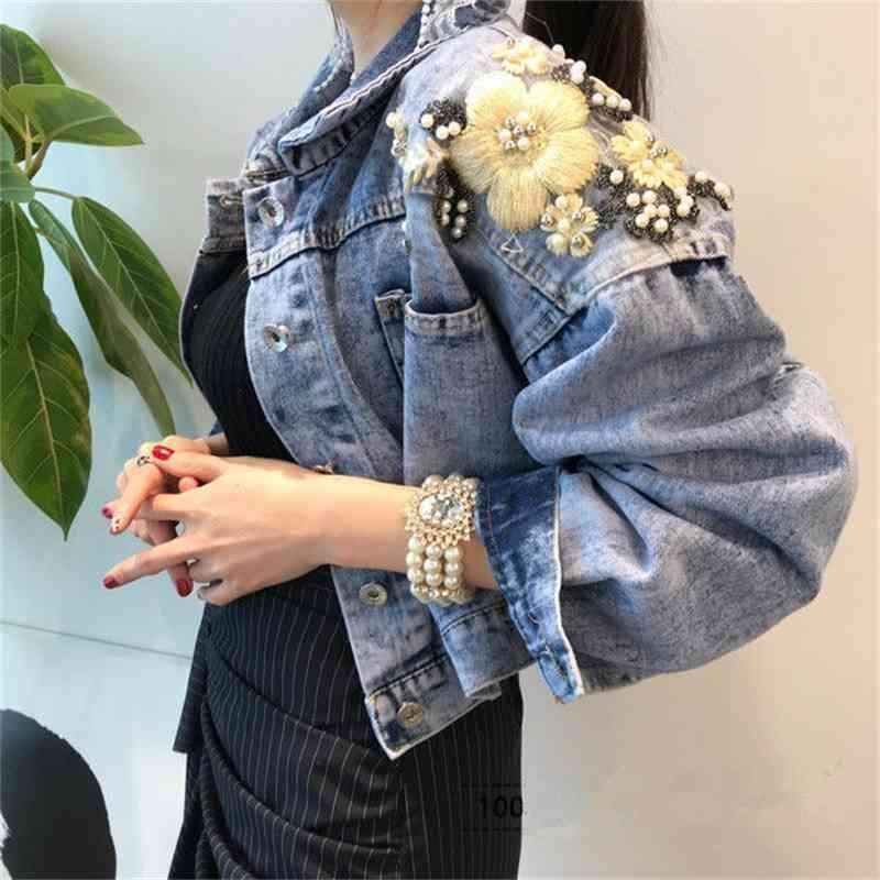 Denim Cotton Jacket Fashionable Beads Embroidery Korean-style Loose-Fit Elegant Short Jacket Women's UT217 T200831