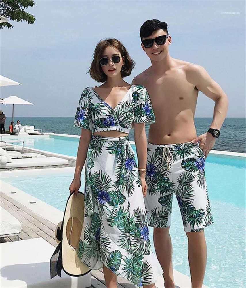 Designer Swimwear Couples Hawaii Vacanze Swim Vestiti Summer Beach Mens Designer Swimwear Fashion Flora Stampato Donna