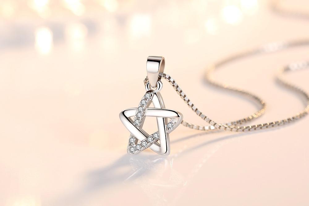 Nehzy 925 Sterling Silver Moda de mujer Joyería de alta calidad Cristal Zircon Retro Simple Star Colgante Colgante Colgante Largo 45 cm