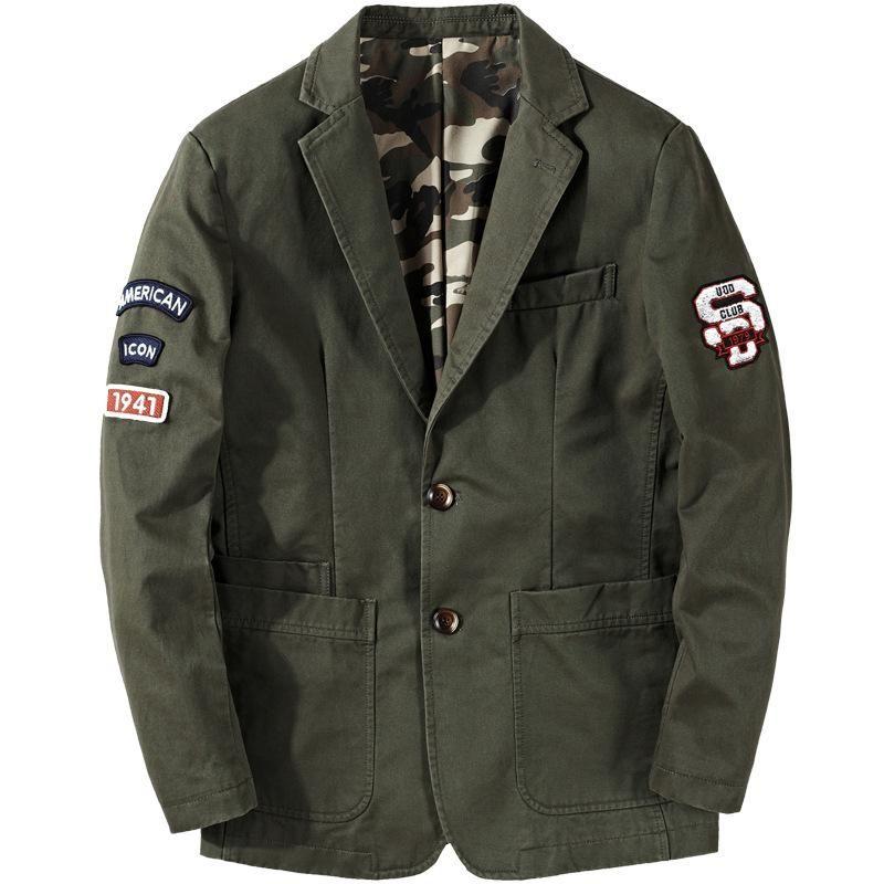 Men's Suits & Blazers ICPANS Men Denim Casual Loose Parka Jackets Army Green Khaki Large Size M-XXXL 4XL Outwear Coat 2021