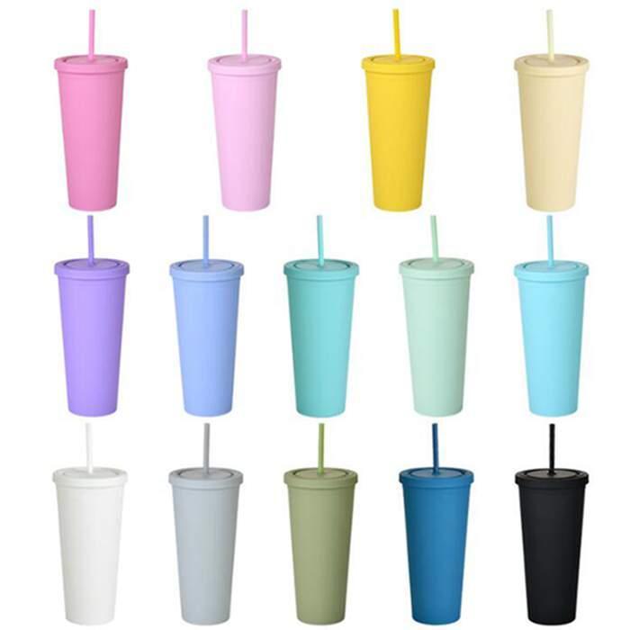 22oz moler arenáceo flaco taza taza de café con sello tapa de paja tazas rectas botella aislada plástica wy1233