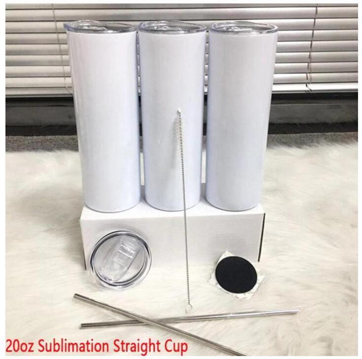 Consegna veloce 20oz Ablimazione a sublimazione Skinny Skinny a sublimazione con montagne russe in metallo e spazzole di paglia Doubel Wall Thermos Cup