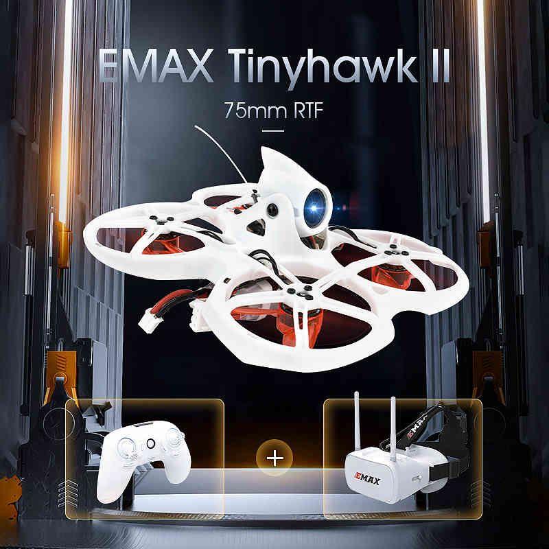 Emax TinyHawk II 75mm 1-2S Whoop FPV Racing Drone RC Quadcopter BNF RTF W / Frsky D8 Runcam 2 CAM 25/100 / 200MW VTX ESC 210325