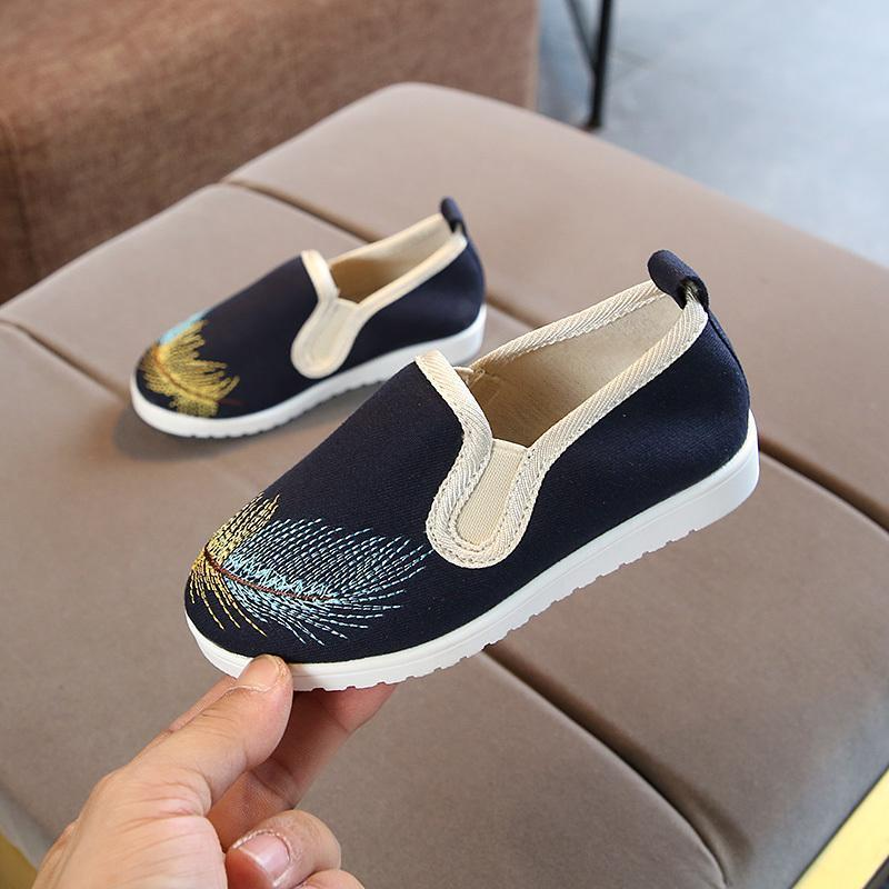 Autumn Children Shoes Girls Canvas Casual Sneakers Fashion Embroidery Floral Kids Boys Anti-slip Toddler Baby Loafers Athletic & Outdoor
