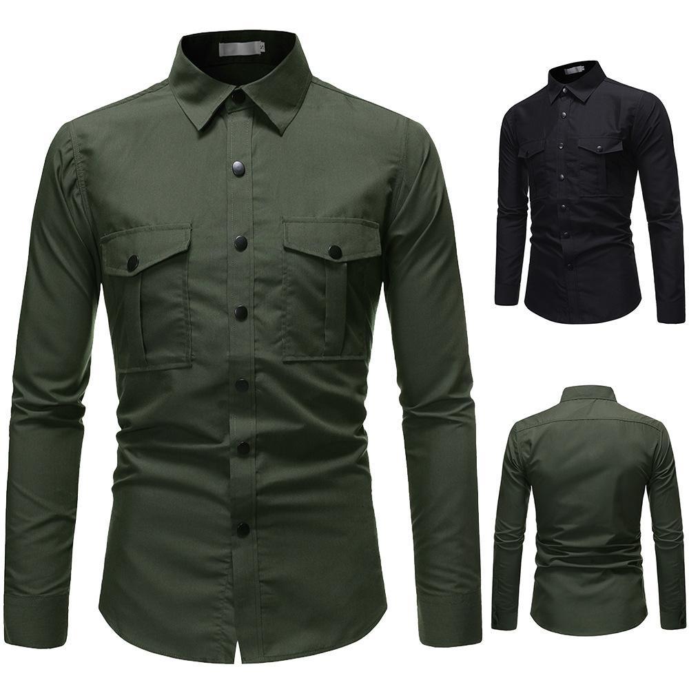 2021 Camisa de los hombres del estilo militar europeo de la moda de la moda de la moda de cuatro botones delgados de la manga larga delgado