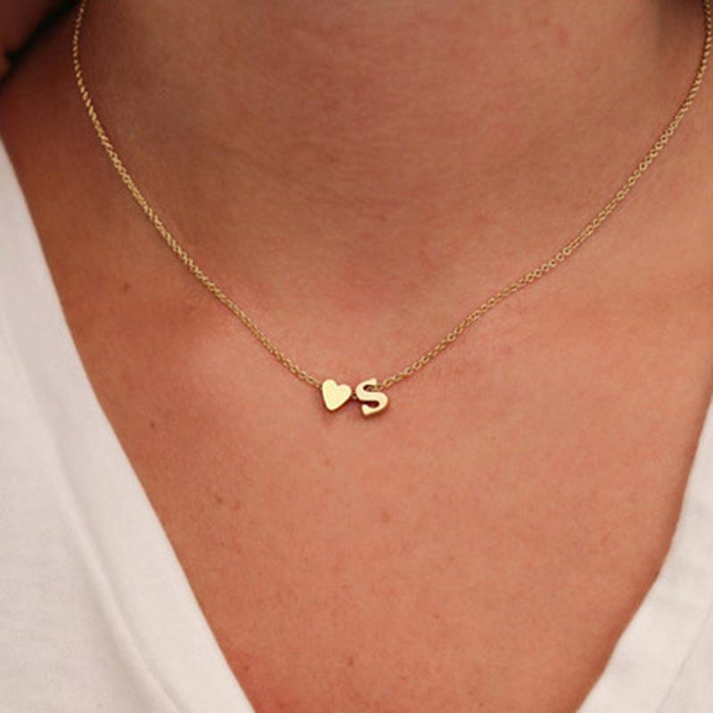 SUMENG Fashion Tiny Heart Dainty Initial Necklace Gold Silver Color Letter Name Choker Necklaces For Women Pendant Jewelry Gift