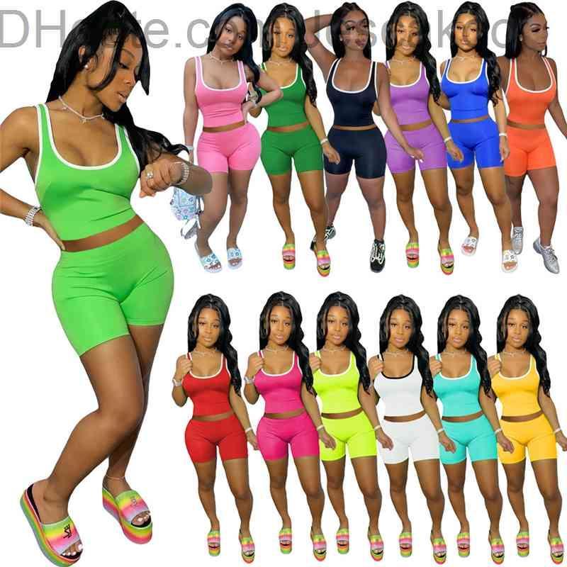 13 색 womens 두 조각 바지 tracksuits 패션 섹시 민소매 티셔츠 탑 + 반바지 스포츠 의상 솔리드 컬러 조끼 짧은 세트 플러스 크기