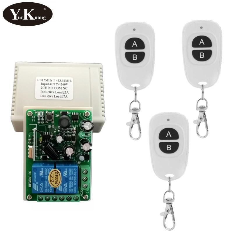 Smart Home Control 433 315 Remote Switch For Light,Door, Garage Universal AC 85V ~ 250V 110V 220V 240V 2CH Relay Contact NO COM NC