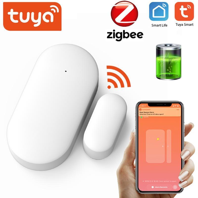 Smart Home Control Tuya ZigBee Sensore porta Sensore Intelligent Linkage Security Alarm Rilevatore di finestre wireless Supporto / App LIFE
